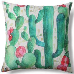 Un favoloso cuscino decorativo, con un meraviglioso disegno di cactus in fiore che vi farà sognare. Imbottito di morbida fibra per rendere il cuscino più confortevole. Bello e grintoso, di grande effetto per i vostri ambienti esterni ed interni.