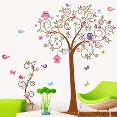 Muursticker sierlijke boom uil, vogels vlinders