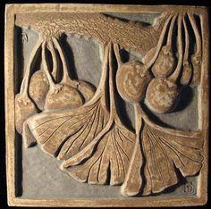 Ginko Tile - Tile Restoration Center, Inc. Azulejos Art Nouveau, Art Nouveau Tiles, Art Nouveau Design, Ceramic Pottery, Pottery Art, Ceramic Art, Arts And Crafts Movement, Inchies, Craftsman Tile