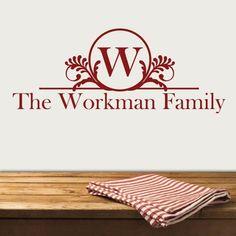 Wreath Family Name Monogram Decal