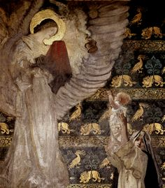 "A detail from ""The Vision"" (1895) -- the first panel in The Quest of the Holy Grail, a mural done for the walls of the Boston Public Library by American illustrator and painter Edwin Austin Abbey (1852-1911).  The infant Galahad os visited by a dove bearing a golden censer and by an angel carrying the Grail. [1st of 4 pins]"