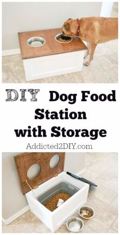 DIY Storage Ideas - DIY Dog Food Station with Storage  - Home Decor and Organizing Projects for The Bedroom Bathroom Living Room Panty and Storage Projects - Tutorials and Step by Step Instructions  for Do It Yourself Organization diyjoy.com\/...