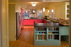 Stylish Kitchen Cupboards Ideas for Chic Cooking Room Style: Deluxe Kitchen Cupboards Ideas Wioth Pink Kitchen Cabinet Also Green Book Shelves With Wooden Kitchen Island And Vector Idea Kitchen Backsplash