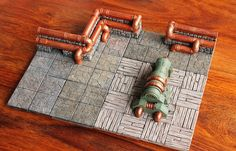 Willypold starts in on a steam punk lair for HorrorClix. Great colors for old wood.