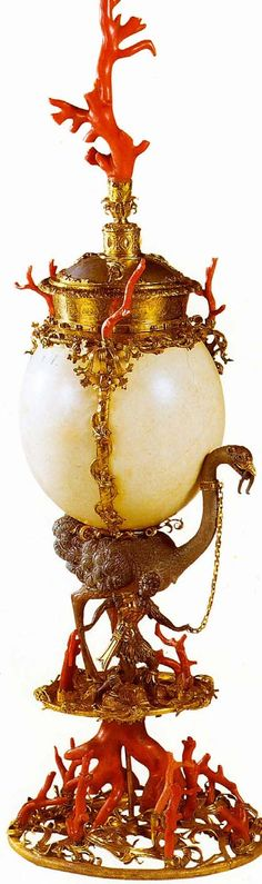 Cup  16th century  Corals, ostrich egg  Kunsthistorisches Museum  Vienna  is owned by Ferdinand of Tyrol