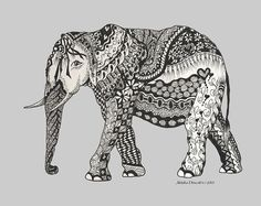 The Royal Elephant Zentangled Print by Meldra Driscoll