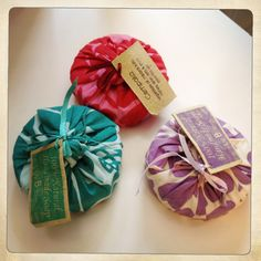 @Patricia Smith Smith Shea Design Confections - Soap packaging with fabric :)