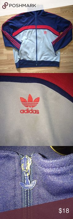 Adidas Track Jacket - Men's Large Genuine Adidas brand • size Large • high collar can fold down or wear as turtleneck • navy blue, gray, red • two pockets • in great condition overall • the very small areas where you can see a faded mark or a lil fabric ball are detailed in pictures (nothing there really) • glasses not included but also available in my store (new) adidas Jackets & Coats Windbreakers