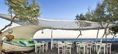 This cute restaurant on the Perivolos beach, Santorini island, Greece - selected by www.oiamansion.com