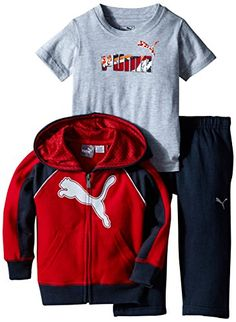 PUMA Baby Boys 3pc Hoodie Tee Pant Set Scooter Red 12 Months -- Continue to the product at the image link.