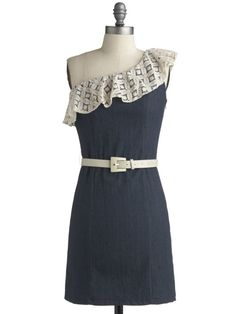 We are dying over this cute one shouldered denim dress from Modcloth! #love
