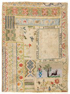 Mexican Sampler ~ Dolores J. Bonilla ~ 1846 ~ Satin, cross, drawnwork, beadwork, eyelet, brick, and Florentine stitches ~ Philaddelphia Museum of Art