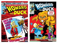 "Issues of ""Howard the Duck"" from January 1979 and January 1986, respectively.  Read more: http://www.businessinsider.com/guardians-of-the-galaxy-end-credits-scene-2014-7#ixzz399TuVoSf"
