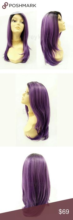"""Purple lace front heat resistant straight wig NOTE: The sheer lace for this wig has already been trimmed and matched to the hairline  Beautiful on-trend wig featuring straight layers, dark roots, and a handcrafted lace front with lace part for a seamless blend with your scalp. Made with premium heat resistant synthetic fiber.  Color: Purple with Dark Roots (TT1B/Purple) Length: 19"""" inches Circumference: Default at 21"""" with adjustable cap (max 23"""") Materials: Premium Heat Resistant Synthetic…"""