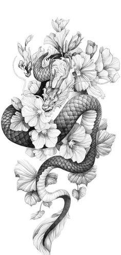 Dragon Tattoo With Flowers, Baby Dragon Tattoos, Dragon Tattoo Drawing, Dragon Tattoo Back, Small Dragon Tattoos, Chinese Dragon Tattoos, Dragon Tattoo For Women, Spine Tattoos For Women, Dragon Sleeve Tattoos