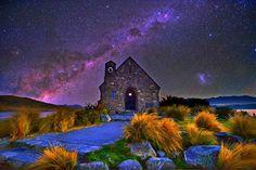 Church of the Good Shepard in Lake Tekapo, New Zealand by sarawut Intarob on Good Shepard, The Good Shepherd, Lake Tekapo, Old Churches, Place Of Worship, Milky Way, Beautiful World, Beautiful Space, Night Skies