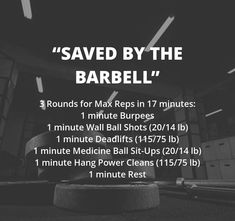 Perform 1 minute of work at each of the 5 stations. Move immediately to the next station after 1 minute. The clock does not reset or stop between exercises. One-minute break is allowed before repeatin Crossfit Workouts At Home, Wod Workout, Spartan Workout, Crossfit Games, Crossfit Athletes, Hiit Benefits, At Home Gym, I Work Out, Barbell
