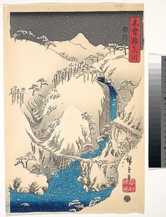 Utagawa Hiroshige (Japanese, 1797–1858). Mountains and Rivers Along the Kisokaidō, ca. 1930s. The Metropolitan Museum of Art, New York. Gift of Cole J. Younger, 1975 (JP3440a–c) #snow