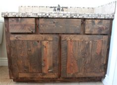 Before & After: A Rustic DIY Oak Vanity Makeover! Mom and Kerry.made me think o… Before & After: A Rustic DIY Oak Vanity Makeover! Mom and Kerry.made me think of you! Diy Bathroom, Barn Wood, Vanity Makeover, Diy Furniture, Trendy Bathroom, Rustic Bathroom Vanities, Rustic Furniture Diy, Bathroom Furniture, Diy Bathroom Vanity
