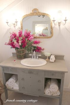 FRENCH COUNTRY COTTAGE: Petite Cottage Bathroom Makeover on a $500 budget at Lowes