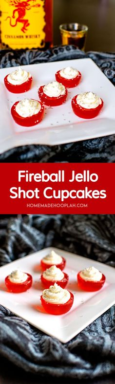 These Fireball Jello Shot Cupcakes are infused with Fireball whisky and topped with Fireball butter cream frosting. Another way to warm up your holiday! Fireball Jello Shots, Jello Pudding Shots, Fireball Recipes, Jello Shot Recipes, Alcohol Recipes, Dessert Recipes, Fireball Cupcakes, Fireball Fudge, Fireball Whiskey