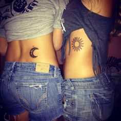 Me and Shelby's sister tattoos. #sistertattoos #sun #moon