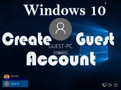 Create Guest PC Account in Windows 10