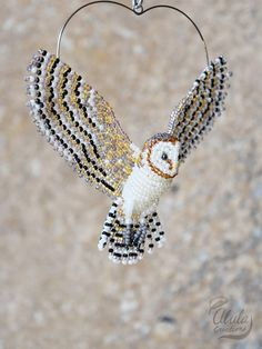 Barn Owl Suncatcher Beaded Bird Ornament Bird Necklace Bird