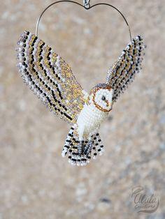 Barn Owl Suncatcher Beaded Bird Ornament Bird Necklace Bird