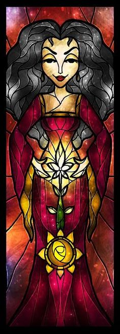 Mother Gothel stained glass by Mandie Manzano