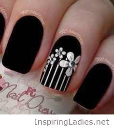Matte black nails with white floral print | Inspiring Ladies