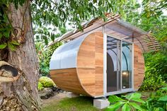 """Prefab Off-grid Tiny Home    """"'House Arc' is a modular, prefab housing system developed by Palo Alto, California-based Bellomo Architects. Designed to be 100% off the grid, the 150-square-foot unit can be flat-packed and shipped in a box that is 4x10x3 feet in size.    Considered a model for compact living, the structure's curvaceous shape is formed from a lightweight frame made of steel tubes - when complete it weighs only 3000 pounds. The intention of 'house arc' is to aid people located…"""