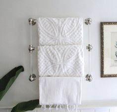 Three-Bar Lucite Towel Rack (Brass, Nickel, or Chrome Hardware)