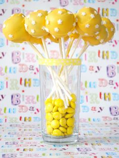 cake balls and yellow m&m's