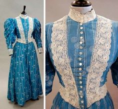 A blue and white printed cotton day dress, ca. 1895, the bodice trimmed with lace. Via Kerry Taylor Auctions.