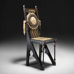 Carlo Bugatti chair - Italy, c. 1905 Italian walnut, hide, copper, white metal, rope, silk, bone - 14 w x 15 d x 36.5 h inches