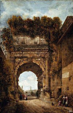 The Arch of Titus (Abraham Louis Rodolphe Ducros, Historical Architecture, Ancient Architecture, Art And Architecture, Ancient Rome, Ancient History, Art History, Fantasy Landscape, Fantasy Art, Arch Of Titus