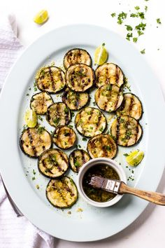 This Lemon Garlic Grilled Zucchini is a delicious, flavourful and bright spring or summer side dish perfect for grilling season!