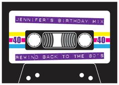 Eighties rewind cassette - cassette tape style printed invitation, perfect for an eighties themed party