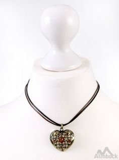 http://www.trachten24.eu/Trachtenkette-Herz-alt-antik-mit-Steinen-K19 - Trachtenkette Herz alt-antik mit Steinen (K19) - Bavarian necklace antique heart with stones (K19)