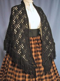 This Lovely Hand Crocheted Black Shawl is the Perfect Accessory for wearing with Victorian, Dickens, Pioneer, Colonial, Frontier, Renaissance Faire and Civil War Reenactment Costumes. And its a great addition to your wardrobe for a Theater Production, School Play or Period Reenactment Event!  ** Note: Listing is for the SHAWL ONLY.**  Also ideal for everyday wear with almost any outfit from dressy to casual. Its the classic way to keep a lady warm in the chilly air anytime!  Listing is for…