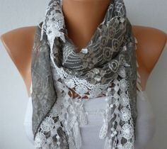 Gray Lace  Scarf    Headband Necklace Cowl with Lace by fatwoman, $21.00