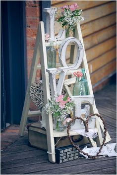 For Shawna: A pastel-pretty Paintworks real wedding with gorgeous gold shoes and styling by The Little Wedding Helper - a LOVE letters ladder :)