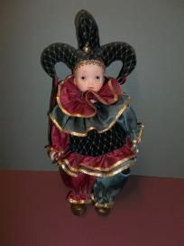 porcelain jester music box doll 12""