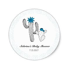 Shop Black white and Blue Cacti Classic Round Sticker created by ThreeBusyBirds. Cactus Stickers, Round Stickers, Cacti Garden, Boy Blue, Custom Stickers, Activities For Kids, Diy And Crafts, Whimsical, Succulents