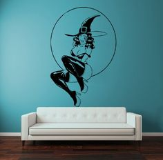 Vinyl Wall Decal Sticker Bedroom Holl Dorm Merry Christmas Witch Girl A87