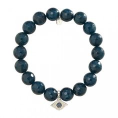 Small White-Gold & Diamond Evil Eye on Blue Apatite Jade