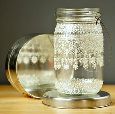 Hand Painted Mason Jar Moroccan Lantern, Lace  Design in White Pearl - on Crystal Clear Glass. $28,00, via Etsy.
