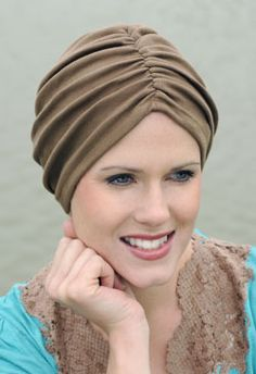 Browse our large collection of soft chemo hats and caps. Our stylish hats for chemo patients are comfortable, flattering and beautiful! Turban Headband Tutorial, Turban Headbands, Turbans, Hat Tutorial, Mode Turban, Turban Hijab, Hijab Style, Turban Style, Bad Hair
