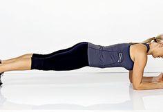 Lankku - tee 1-3 min / kerta, toistaa *3. Jos lantio roikkua > liikkeestä ei ole hyötyä. Asetu lattialle kyynärvarsiesi ja varpaidesi varaan, jännitä vatsalihakset kunnolla ja kohota lantiosi niin ylös, että vartalosi muodostaa suoran linjan päästä nilkkoihin saakka.  Keskivartalon syvien lihasten treenaamiseen, vatsalihakset kiinteytyvät, ryhti paranee, keskivartalon tukilihakset vahvistuvat ja selkäranka saa tukea.